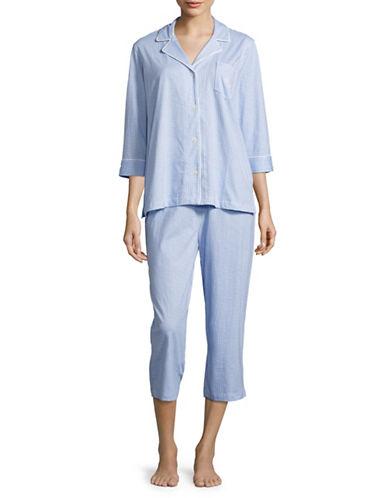 Lauren Ralph Lauren Printed Classic Knit Capri Pyjamas-BLUE-X-Large 88843490_BLUE_X-Large