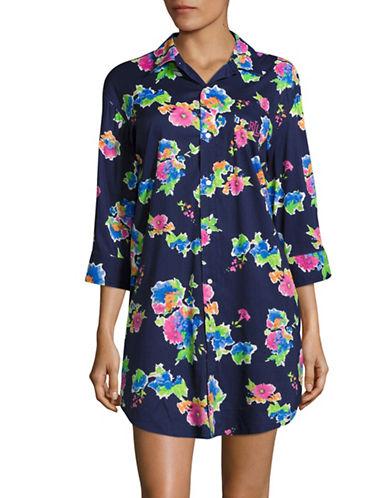 Lauren Ralph Lauren Floral Printed Sleep Shirt-PURPLE-2X