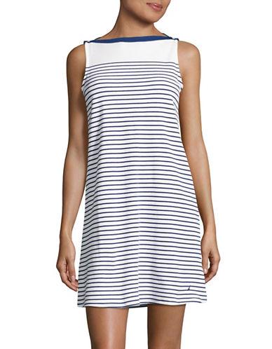 Nautica Stripe Sleeveless Sleep Dress-BLUE-Medium