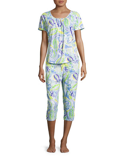 Lauren Ralph Lauren Printed Capri Pyjama Set-BLUE-Medium
