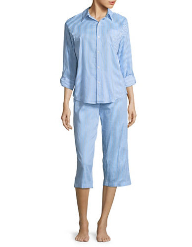 Lauren Ralph Lauren Two-Piece Striped Capri Pyjama Set-BLUE-Medium