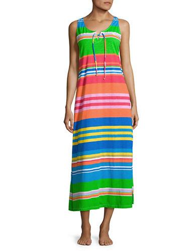 Lauren Ralph Lauren Lace-Up Cotton Jersey Maxi Nightgown-MUTLI-Small