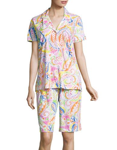 Lauren Ralph Lauren Cotton Jersey Bermuda Pyjama Set-PINK MULTI-Medium