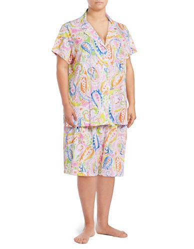 Lauren Ralph Lauren Plus Cotton Jersey Bermuda Pyjama Set-PINK-2X
