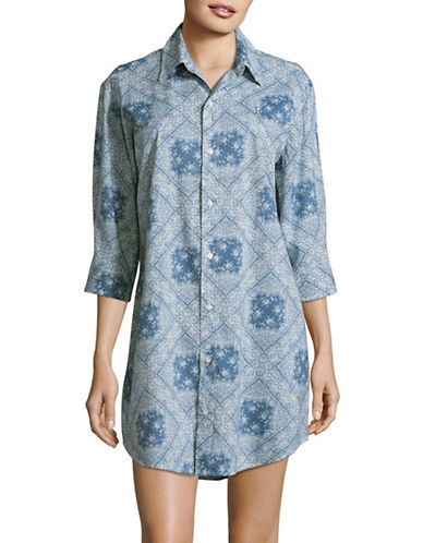 Lauren Ralph Lauren Tile Print Sleepshirt-BLUE-Small