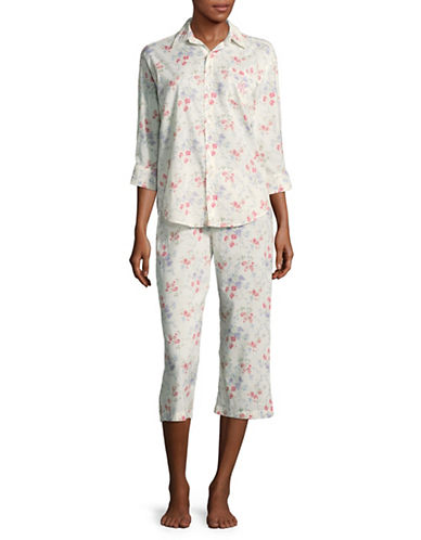 Lauren Ralph Lauren His Shirt Capri Two-Piece Pyjama Set-WHITE-Small