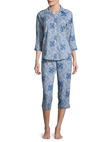 Lauren Ralph Lauren His Shirt Capri Two-Piece Pyjama Set-BLUE-Medium