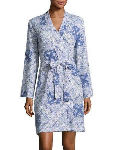 Lauren Ralph Lauren Tile Print Kimono Robe-BLUE-Medium