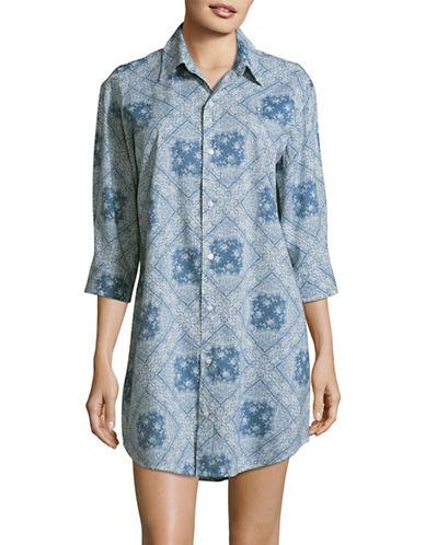 Lauren Ralph Lauren Tile Print Sleepshirt-BLUE-2X