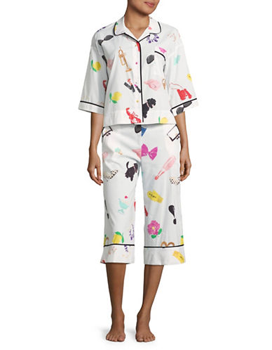 Kate Spade New York Things I Love Two-Piece Pyjama Set-WHITE-Small 89087582_WHITE_Small