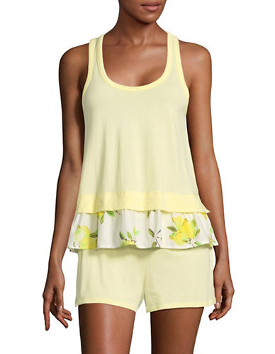 Kate Spade New York Two-Piece Lemon Shorts Pyjama Set-YELLOW-Medium
