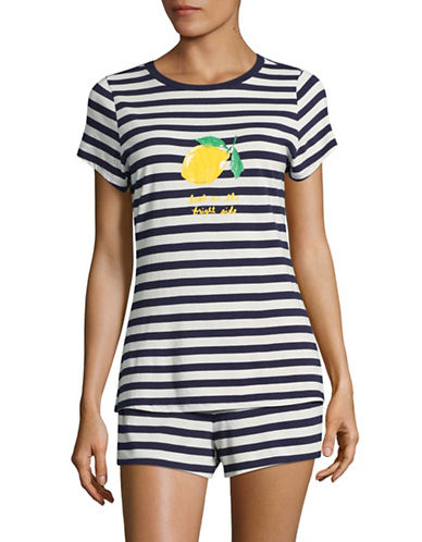 Kate Spade New York Two-Piece Lemon and Stripe Shorts Pyjama Set-BLUE-X-Large