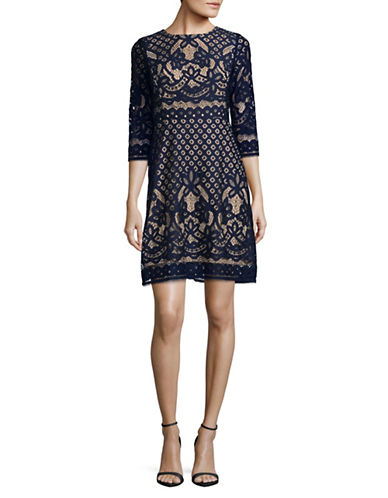 Gabby Skye Pineapple Lace A-Line Dress-NAVY/NUDE-10
