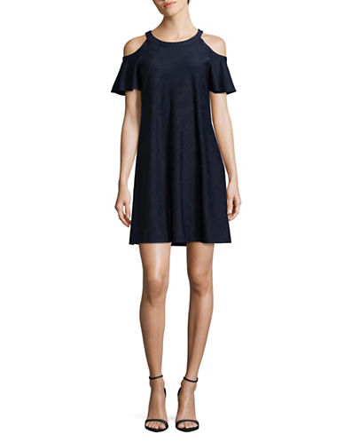 Gabby Skye Cold-Shoulder Trapeze Dress-NAVY-10