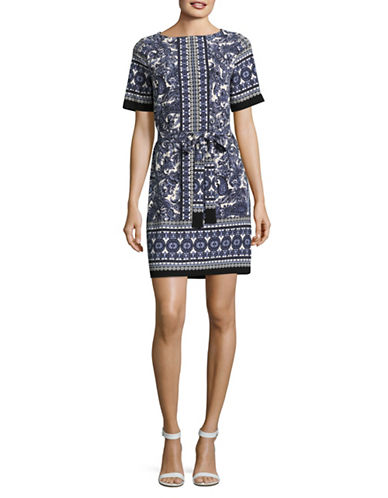 Gabby Skye Border Print Tie-Waist Dress-IVORY/NAVY-10