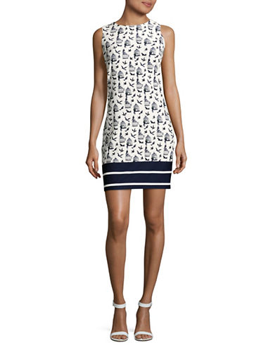 Gabby Skye Bordered Birdcage Print Shift Dress-IVORY/NAVY-12
