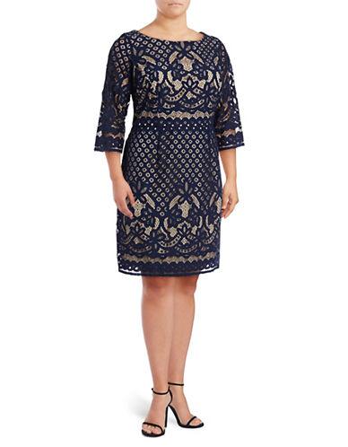 Gabby Skye Three-Quarter Lace Sheath Dress-NAVY/NUDE-18W