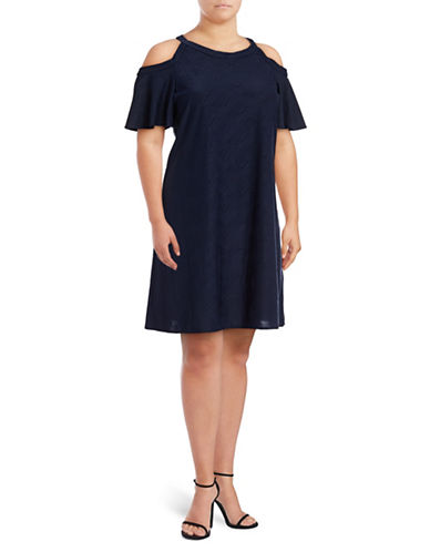 Gabby Skye Cold-Shoulder Jacquard Trapeze Dress-NAVY-24W
