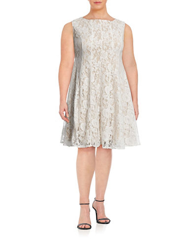 Gabby Skye Plus Sleeveless Lace Fit-and-Flare Dress-WHITE-16W