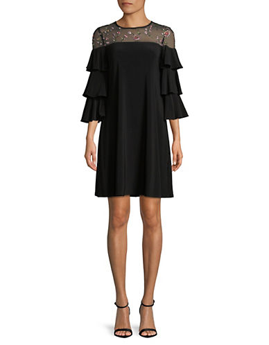 Gabby Skye Mesh Yoke Tiered-Sleeve Dress 89860141