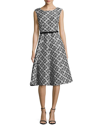Gabby Skye Printed Shantung Fit-and-Flare Dress-IVORY/BLACK-12