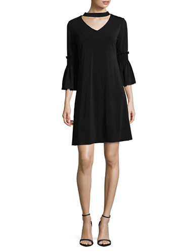 Gabby Skye Choker Neck Swing Dress-BLACK-12