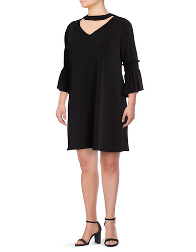 Gabby Skye Bell Sleeve A-Line Choker Dress-BLACK-22W