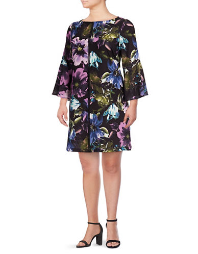 Gabby Skye Floral-Print Shift Dress-BLACK MULTI-18W