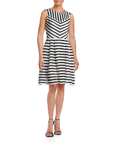 Gabby Skye Contrast Scuba Mesh Fit-and-Flare Dress-WHITE-4
