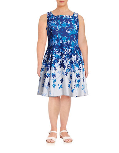 Gabby Skye Plus Floral Scuba-Knit Sheath Dress-BLUE-14