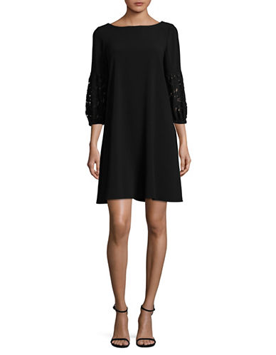 Gabby Skye Lace Bell Sleeve Trapeze Dress-BLACK-10