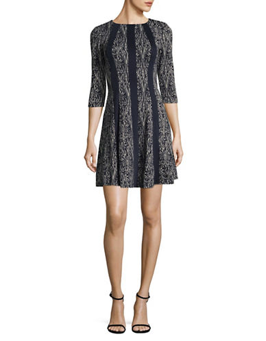 Gabby Skye Paisley Knit A-Line Dress-BLUE-8