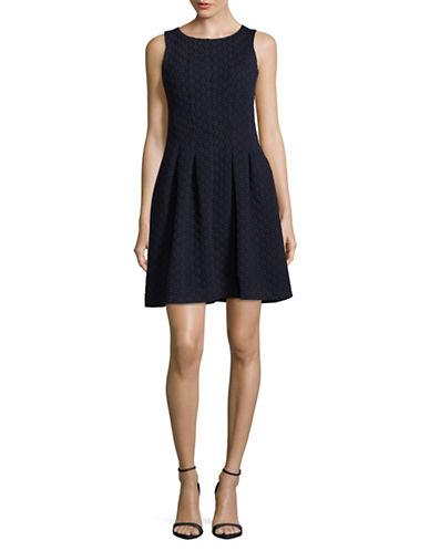 Gabby Skye Floral Jacquard A-Line Dress-NAVY-8