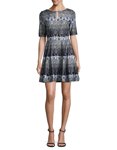 Gabby Skye Printed Scuba Swing Dress-BLUE/BLACK-14