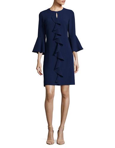 Gabby Skye Ruffle Front A-Line Dress-NAVY-10