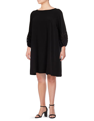 Gabby Skye Lace Ball Sleeve Trapeze Dress-BLACK-18W