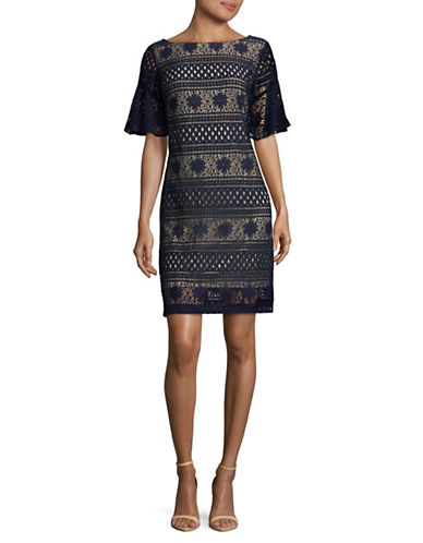 Gabby Skye Bell-Sleeve Crochet Sheath Dress-BLUE-12