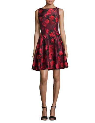 Gabby Skye Floral Keyhole Fit-and-Flare Dress-RED-10