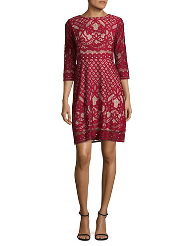 Gabby Skye Pineapple Lace A-Line Dress-RED-4