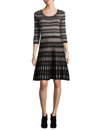 Gabby Skye Diamond Print Sweater Dress-BLACK-Large