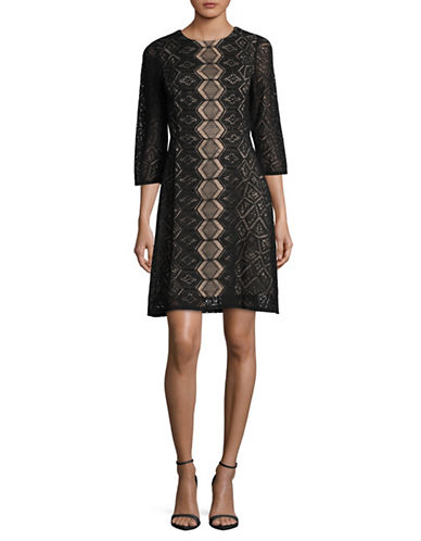 Gabby Skye Diamond Lace Sheath Dress-BLACK-14