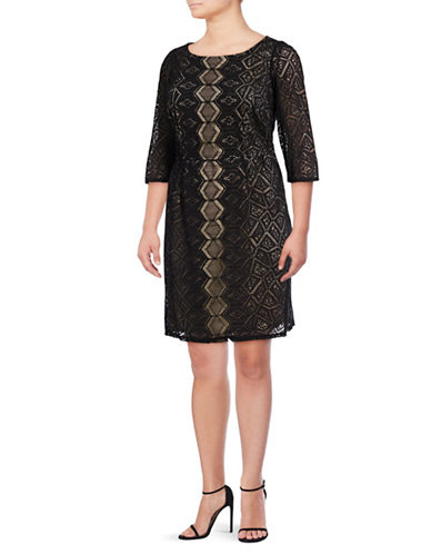 Gabby Skye Diamond Lace Sheath-BLACK-14W