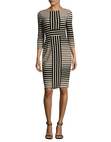 Gabby Skye Multi Stripe Sheath Dress-BEIGE-8