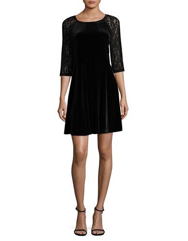 Gabby Skye Velvet Lace Trapeze Dress-BLACK-14