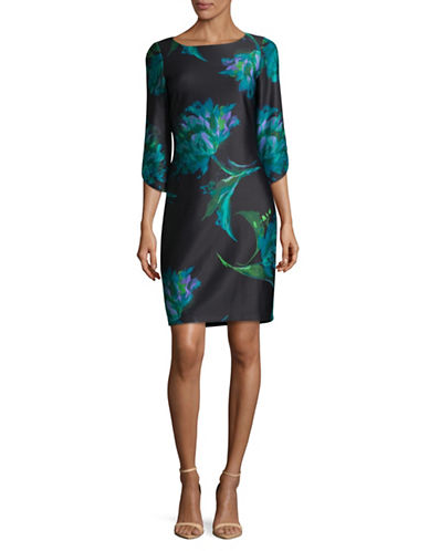Gabby Skye Tulip Scuba Sheath Dress-BLACK/TEAL-12