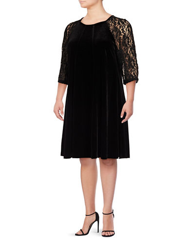 Gabby Skye Floral Sleeve Velvet Dress-BLACK-24W