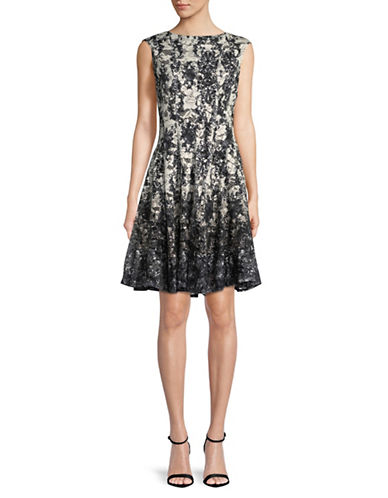 Gabby Skye Printed Lace Sleeveless Dress-IVORY/BLACK-8