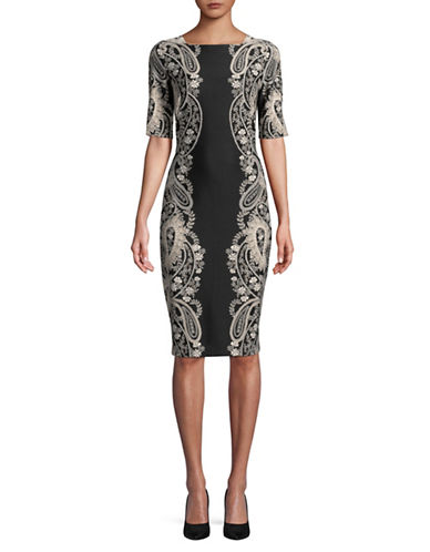 Gabby Skye Printed Midi Dress-BLACK-4