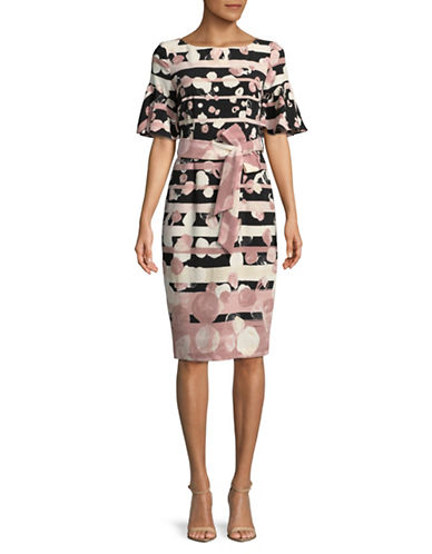 Gabby Skye Printed Bell-Sleeve Sheath Dress-BLUSH-10