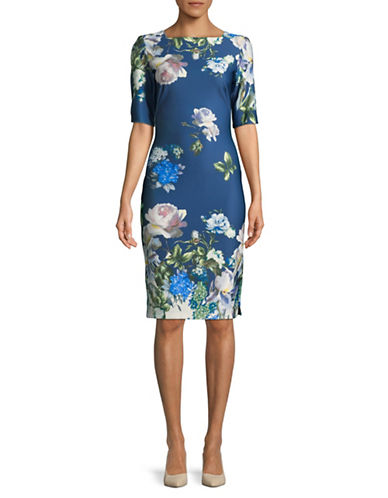 Gabby Skye Floral Square Neck Dress-BLUE-14